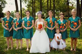 Teal Wedding Orange And Teal Wedding With Bowties And A Chartiable Donation