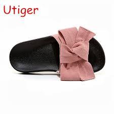 pink slides summer shoes slides bow sandals children butterfly slippers
