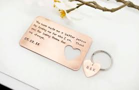 wedding gift to husband copper wallet insert card customized personal messages husband
