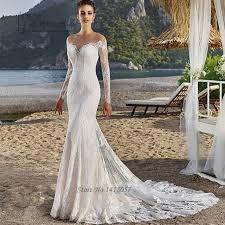 robe de mari e dentelle manche longue russe style sirène robes de mariée en dentelle à manches longues