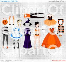 free halloween clip art transparent background clipart teenage doll with halloween costumes royalty free vector