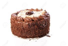 german chocolate cake double layer round with coconut glaze