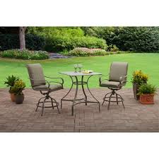 High Patio Table And Chairs Mainstays Laurel Grove 3pc High Dining Set Walmart Com