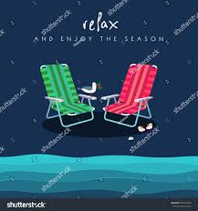Two Beach Chairs Two Beach Chairs Red Green Colors Stock Vector 203190436