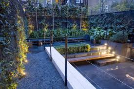 small garden kensington stone paving u0026 walls wood benches