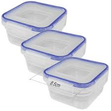 costmad 3 piece 200ml clear plastic tupperware set food mini