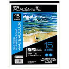 amazon com mead academie watercolor paper heavyweight 9 x 12