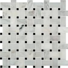 Tile Black And White Marble by Ms International Greecian White Basketweave 12 In X 12 In X 10