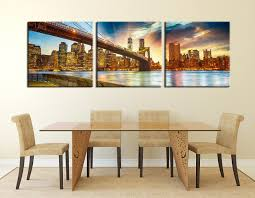 3 piece large canvas city light multi panel art yellow city
