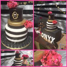3 tiered baby shower gold black and white cake with fusch u2026 flickr