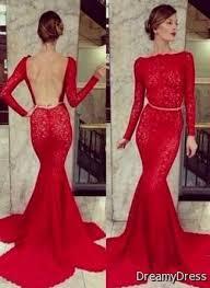 long sleeve red lace prom dress 2017 2018 fashionmyshop