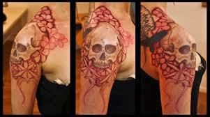 half sleeve arm tattoos skull and flower sleeve tattoos for girls 25 skull half sleeve