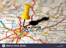 Pa Road Map Map Pin Pointing To Madrid On A Road Map Stock Photo Royalty Free
