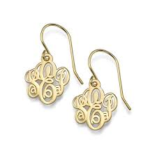 monogrammed earrings monogrammed earrings in 18k gold plating mynamenecklace