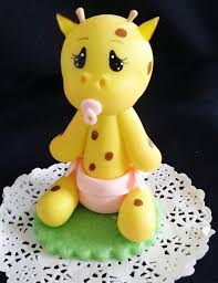 giraffe cake topper baby giraffe with diaper and picifier in blue