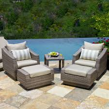 Patio Chair With Ottoman Set Rst Brands Cannes 9 Piece Patio Dining Set Hayneedle