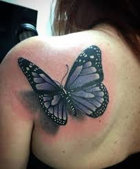 3d butterfly on left back shoulder by luirenzo tattoos