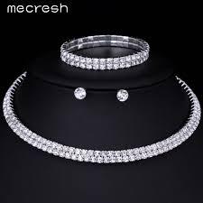 bracelet sets mecresh silver color circle bridal jewelry sets