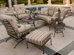 Black Rod Iron Patio Furniture Furniture Black Wrought Iron Patio Furniture With Cream Cushion