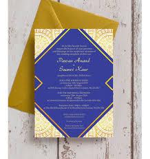 asian wedding invitation royal blue gold indian asian wedding invitation from 1 00 each