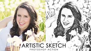 artistic sketch effect photoshop action turn photos into crayon