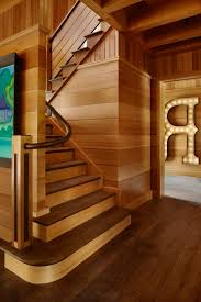 Dark Wood Banister Dark Wood Light Walls Staircase Contemporary With Letter Artwork
