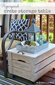 repurpose a wooden crate into a rolling storage table diy
