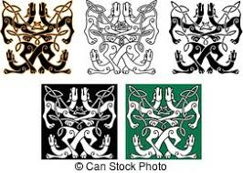 vector clip of green celtic ornaments and embellishments for