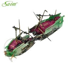 fish tank plastic broken boat ship shipwreck aerating aquarium