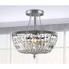 crystal semi flush mount lighting jessica clear crystal basket semi flush mount chrome 3 light chandelier