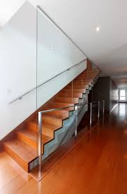 Height Of Handrails On Stairs by Full Height Glass Balustrade Handrail On Wall Minimal Glass