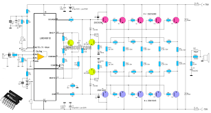 circuit diagram of home theater high end power amplifier circuit using ic lme49810 as a driver