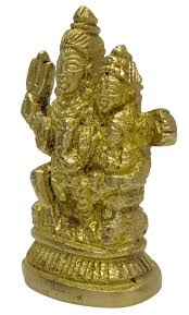 shiv parivar statue decorative religious brass gold tone office