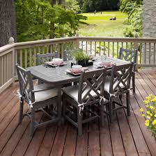 outdoor deck dining area with country style dining sets and gray