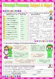 english teaching worksheets subject and object pronouns