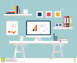 home design desktop flat design modern home office interior with designer desktop