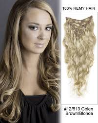 human hair clip in extensions 22 9pcs 12 613 brown wave remy human hair clip in