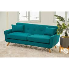Fabric Sofa Bed Abbyson Bradley Teal Mid Century Fabric Sofa Free Shipping Today