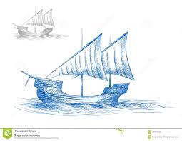 sketch of old medieval sailing ship stock vector image 58070250