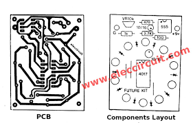 pcb and components layout of the circle 10 led running lights