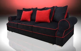 Red And Black Sofa by Bed 3 Seater Royal Black Red Velvet Fabric