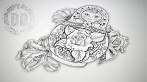 russian doll tattoo design speed drawing youtube