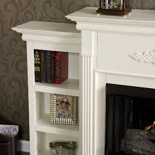 tennyson gel fuel fireplace with bookcases ivory