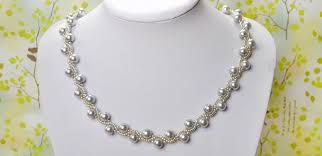 pearl necklace with ribbon images Simple ol jewelry diy on how to make a silver gray pearl necklace jpg