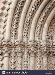 jak romanesque church entrance carved column ornament stock