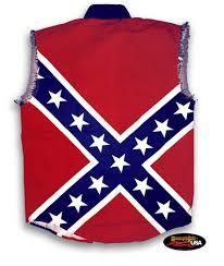 Confderate Flag Confederate Flag Pride All Over Cut Off Denim Shirt Motorcycle