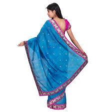 buy peacock blue chanderi saree online shopping