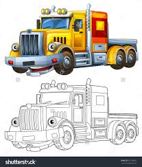 cartoon truck coloring page illustration children stock