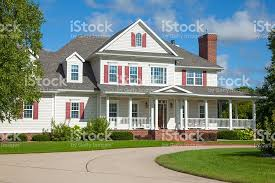 country mansion beautiful two story country mansion home stock photo 488520030