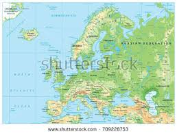 europe phisical map europe physical map detailed vector illustration stock vector
